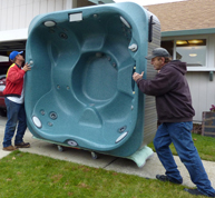 how to move a hot tub down stairs